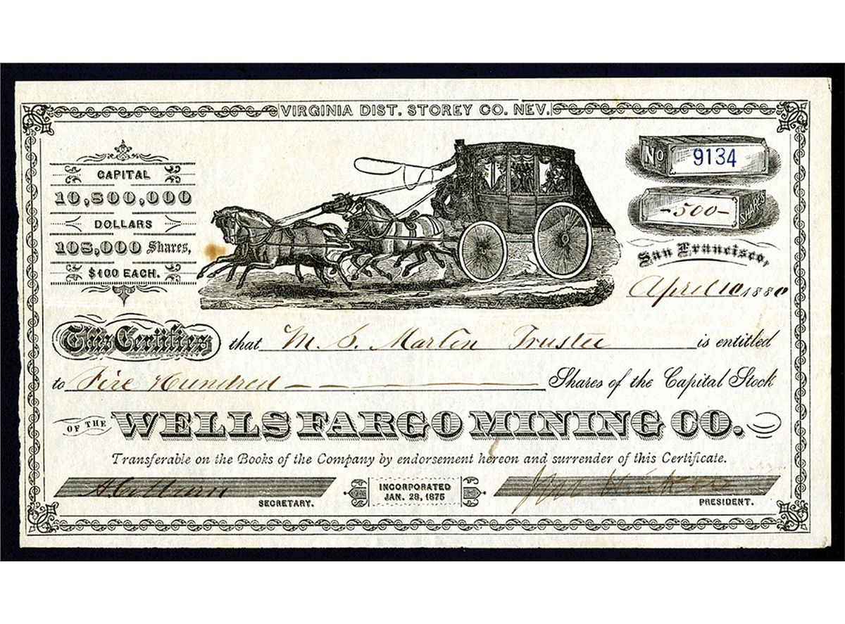 Wells Fargo Stagecoach Drawing Wells Fargo Mining co