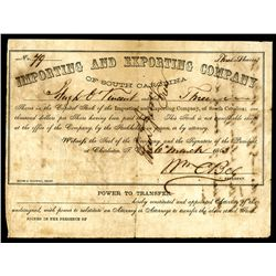 Blockade Runners: Importing & Exporting Company of South Carolina, 1863 Issued Stock Certificate.
