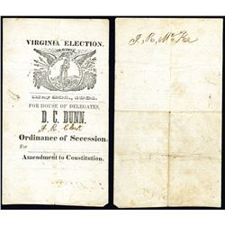Virginia 1861  Ordinance of Secession - Amendment to Constitution  Election Ballot.