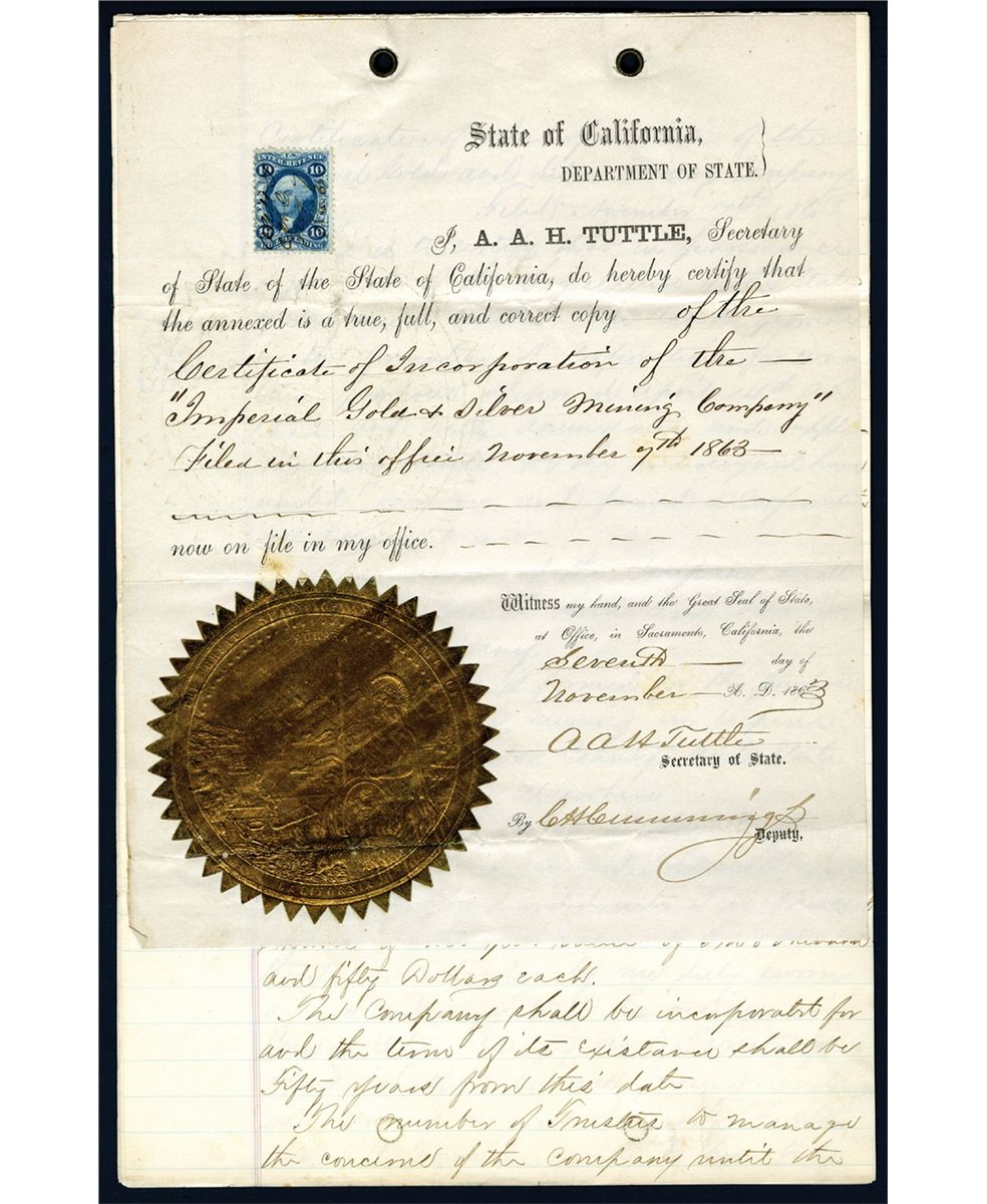 Certificate of incorporation 1863 official copy of imperial gold certificate of incorporation 1863 official copy of imperial gold silver mining company loading zoom xflitez Gallery