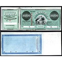Bank of America, 1879 Specimen $10,000 Clearing House Certificate.