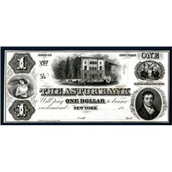 NY. Astor Bank, $1, 18xx (ca. 1850's) Proof Obsolete Banknote -Ex Ford.