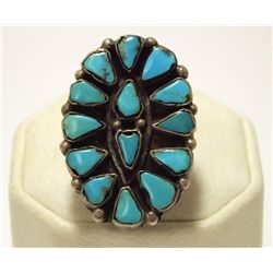 Old Pawn Zuni Turquoise Sterling Silver Women's Ring