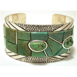 Carico Lake Turquoise Overlay Sterling Silver LARGE Cuff Bracelet -_ Yellow Hair