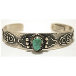 Old Pawn Navajo Spider Web Turquoise Sterling Silver Cuff Bracelet - Kirk Smith