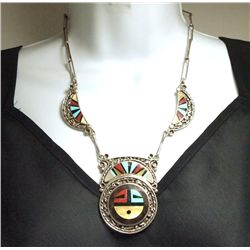 Vintage Old Pawn Zuni Multi-Stone Inlay Sun Face Sterling Silver Necklace - Don & Velma Dewa