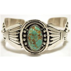 Old Pawn Navajo Persian Turquoise Sterling Silver Cuff Bracelet - Robert Kelly