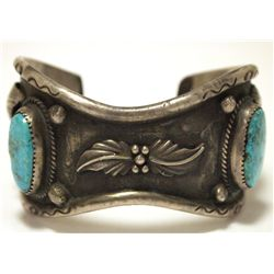 Vintage Old Pawn Navajo Turquoise Sterling Silver Cuff Bracelet