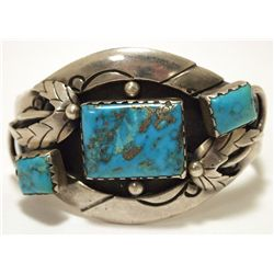 Old Pawn Navajo Stormy Mountain Turquoise Sterling Silver Cuff Bracelet
