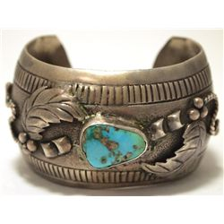 Vintage Old Pawn Navajo Turquoise Sterling Silver Cuff Bracelet - RT '74