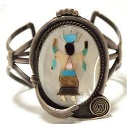 Vintage Old Pawn Zuni Multi-Stone Inlay Apache Dancer Sterling Silver Cuff Bracelet - KY Bill