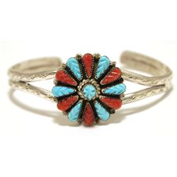 Old Pawn Zuni Coral & Turquoise Sterling Silver Cuff Bracelet - Robert Eustace