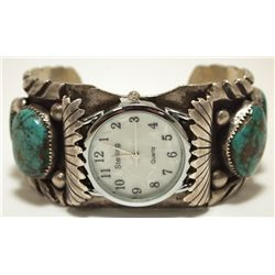 Vintage Old Pawn Navajo Royston Turquoise Sterling Silver Cuff Bracelet Men's Watch - EL