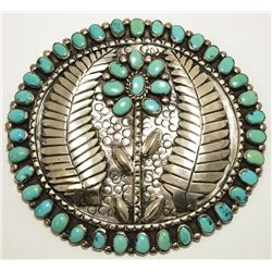 Old Pawn Navajo Turquoise Sterling Silver HUGE Flower Pendant