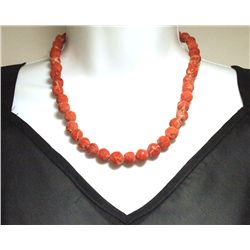 Vintage Old Pawn Navajo Natural Coral Sterling Silver End Necklace