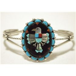Old Pawn Zuni Multi-Stone Inlay Eagle Sterling Silver Cuff Bracelet - Bobby Concho