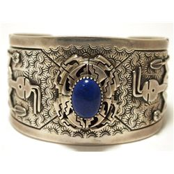 Old Pawn Navajo Lapis Lazuli Sterling Silver Kachina Dancer Cuff Bracelet - FB