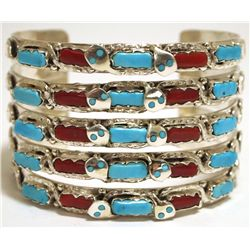 Zuni Coral & Turquoise Sterling Silver 5-Row Snake Cuff Bracelet - Effie Calavaza