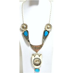 Navajo Turquoise Sun Face Sterling Silver Necklace with Pins - Nelson Morgan