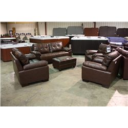 5 Piece Brown Leather Sofa Loveseat Two Chairs And