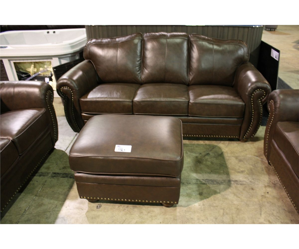 ... Image 2 : 4 PIECE BROWN STUDDED LEATHER TRADITIONAL ARM SOFA, LOVESEAT,  CHAIR AND ...