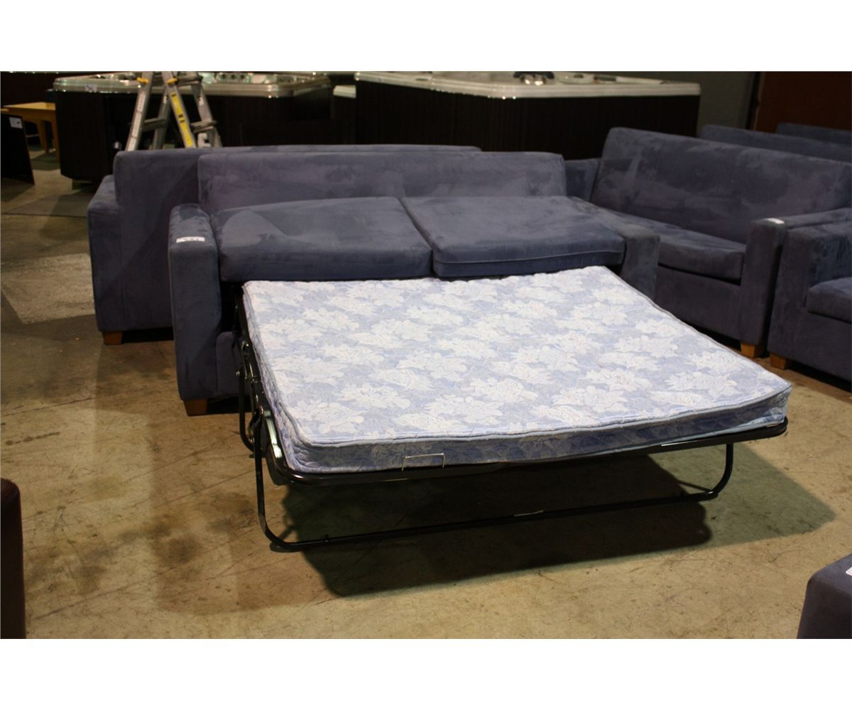 Blue microfibre sofa bed missing feet for 5 foot sofa bed