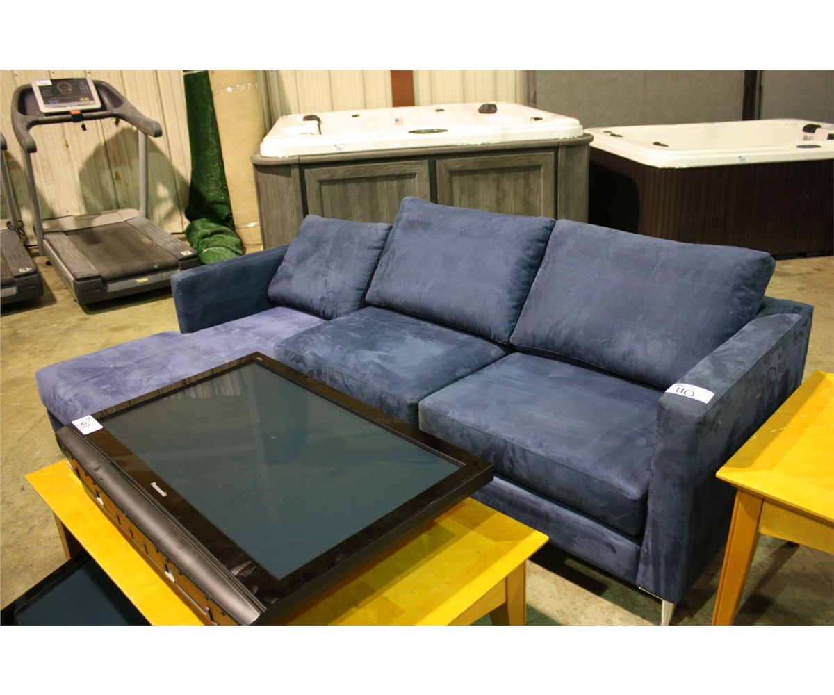 blue microfibre sectional with chaise lounge. Black Bedroom Furniture Sets. Home Design Ideas