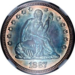 1887 Proof Seated 25C, NGC PF66, Rainbow Toned (65771)