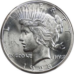 1928 Peace Dollar, PCGS MS63 (67243)