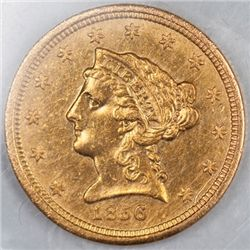 1856 $2.5 Gold Piece, Raw XF/AU (66688)