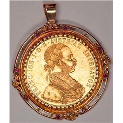 Large 4 Ducat Gold Coin in 14K Pendant or Brooch (48616)