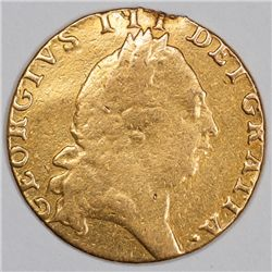 1791 Gold Spade Guinea, Great Britain, Damaged (35450)