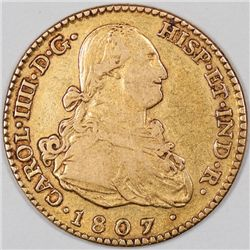 1807 Spain Gold 2 Escudos, Nice VF (36127)