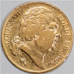 1818-A French 20 Francs, Gold, Louis XVIII (41064)