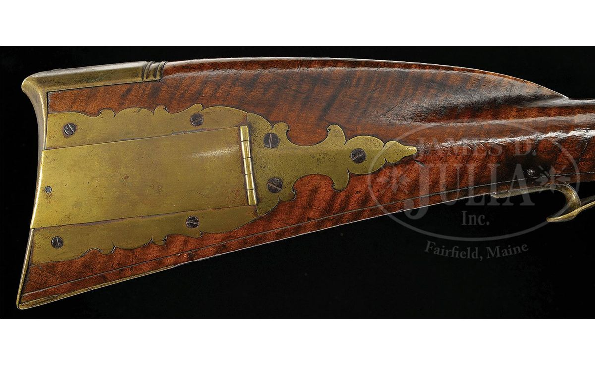 Relief carved curly maple kentucky rifle attributed to