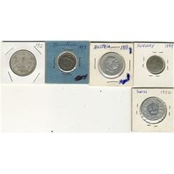 Austria, 1893 20 1913 2 Cor, France 1920 2 FR, Hungary 1849 6 Kr and Mexico 1912 50 Centavos;  5 coi