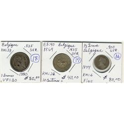 Belgium;  1844 ½ fr, 1864 10 centimos and 1880 1 fr.  Three coins F-VF.