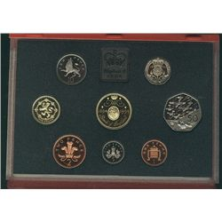Great Britain 1994 Proof Set in Deluxe case (red) 8 coins.