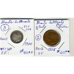 Straits Settlement; 1845 ½Cents and 1900 10Cents.  Two coins VF-EF.