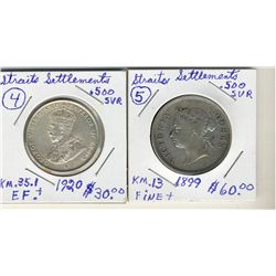 Straits Settlement; 1899 VG and 1920 AU 50Cents.  Two coins.