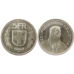 Switzerland; 1967B 5 Franc white and lustre.