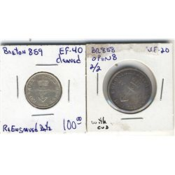 Breton 858 VF-20; Open 8 2/2 with a cud on one side, Breton 859, EF-40 Cleaned. Lot of 2 coins.
