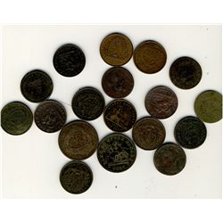 Tokens;  Lot of 18 common Province of Canada, Upper Canada  and Lower Canada issues. Good to Fine, s
