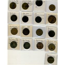 Tokens;  includes lot of 17 pcs, Ships Colonies & Commerce, Wellington, Harp, Lower Canada, Upper Ca