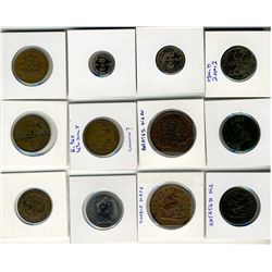Tokens;  includes lot of 12 pcs,  British Anchor issues(3), Devins & Bolton, Province of Canada, Low