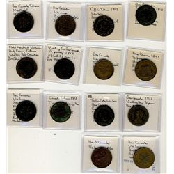Tokens;  includes lot of 14 pcs,  Tiffin, Wellington, Lower Canada and Upper Canada issues.  Another