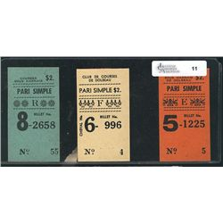 3 Betting Ticket for Dolbeau, QC horse harness racing track, condition mint.