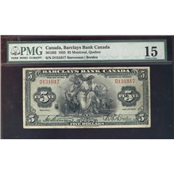 1935 Barclays Bank of Canada; $5 # D131017 CH-30-12-02 PMG CH F15.
