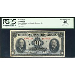1939 Imperial Bank of Canada; 1 Dollars, 0 #E079730 CH-375-24-04 PCGS EF40 Apparent.  Minor stains.