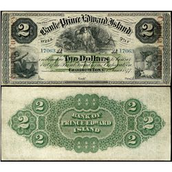 1877 Bank of Prince Edward Island; 2 Dollars, VF+; CH-600-12-08a #17063 With red overprint.  Not pri